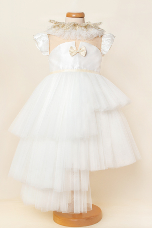 Forever Beauty -  Ivory tutu dress with uneven ruffles and removable gold collar