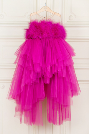 Pink Sensation - Special Occasion tutu dress with train, sequins and feathers