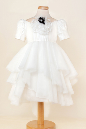 Sweet Ballerina -  Special occasion tutu dress with silk shantung and decorative jabot