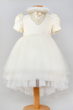 Golden Sparkles -  Special Occasion dress with gold lace and delicate rhinestones