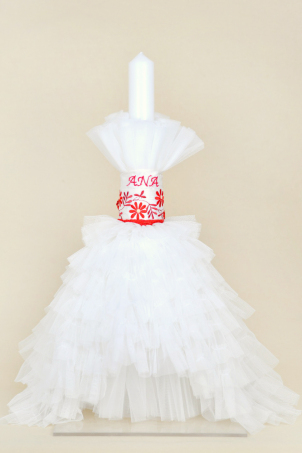 Tatiana Trouseau - Christening candle with ruffles and embroidered bow