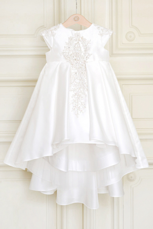 Sparkling Light - Ivory Train Dress with Delicate and Precious Beads Lace