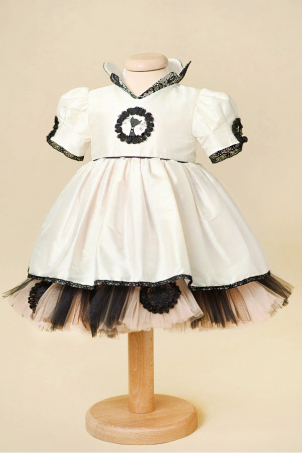 Musette - Ivory Silk Dress with Black Lace Details and a Hand Painted Little Black Cat