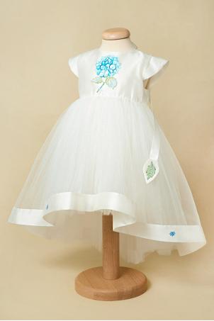 Blue Hortensia - Baby girl train dress