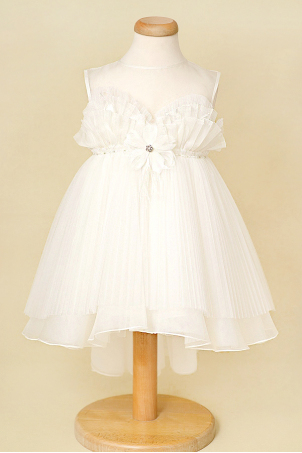 Flower Dove - Silk organza elegant girl dress with train and feathers