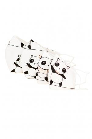 Set 4 x Protective Face Mask Reusable, 100% Cotton, Kids and Adults, PANDA