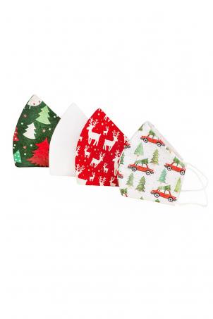 Set 4 x Protective Face Mask Reusable, 100% Cotton, Kids and Adults, CHRISTMAS CARS