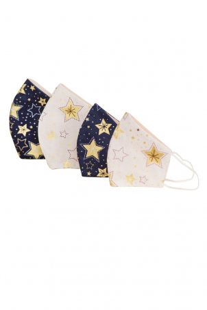 Set 4 x Protective Face Mask Reusable, 100% Cotton, Kids and Adults, WINTER STARS