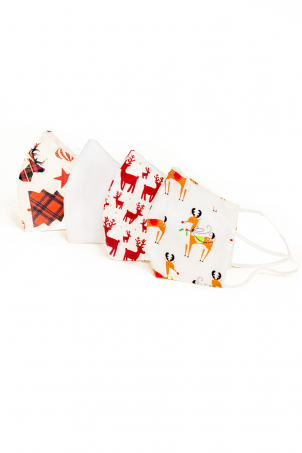 Set 4 x Protective Face Mask Reusable, 100% Cotton, Kids and Adults, REINDEERS DECO