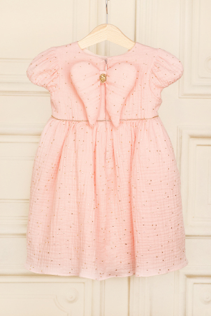 Leia - Beautiful dress made of delicate cotton with golden dots and angel wings