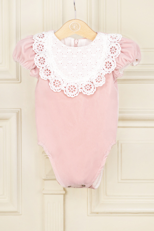 Aimee Pink - Delicate velvet body, decorated with cotton lace