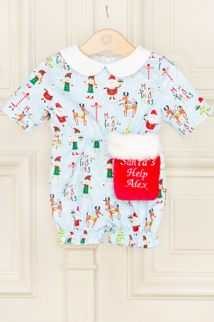 Little Elf - Unisex cotton Christmas-themed jumpsuit with shorts