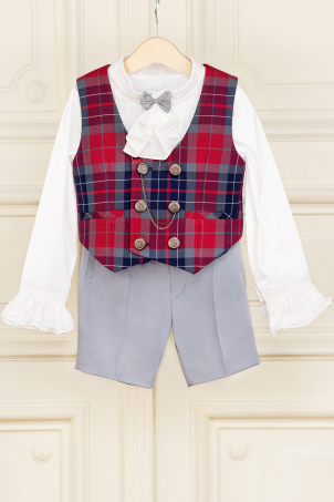 Handsome Gray - Special Occasion suit with jabot for boys and babies