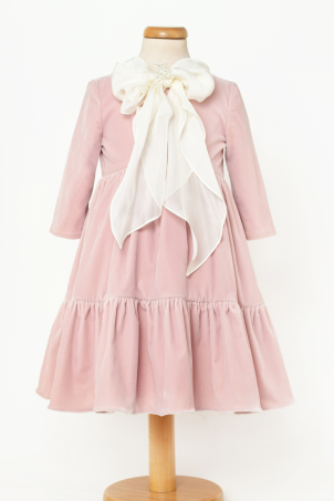 Emily - Special Occasion dress made from soft velvet and decorated with a silk veil bow