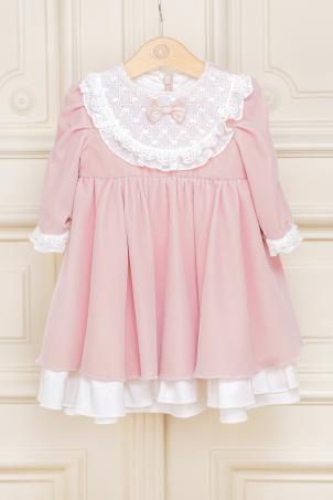 Odesa - Elegant pink velvet dress for girls, with ivory lace details