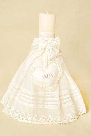 Jamie Trousseau - Embroidered Christening Candle