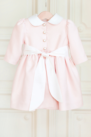 Dhalia - Elegant Blush Pink Girls' coats made of silk fabric