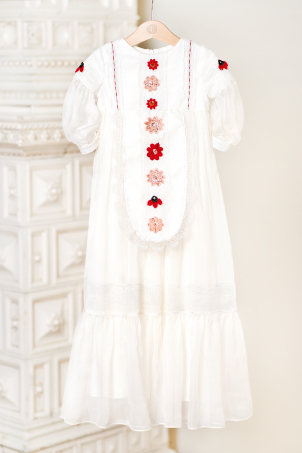 The Garden of Flowers - Catholic style christening gown with traditional interpreted motifs