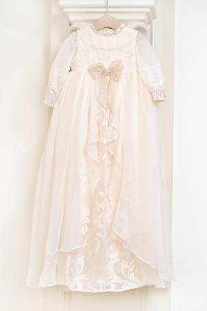 Queen Victoria - Catholic Christening dress made from embroidered silk veil and decorative pearls