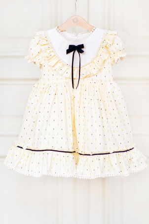Sweetie Pie - Cute cotton dress, with ruffles and macrame details