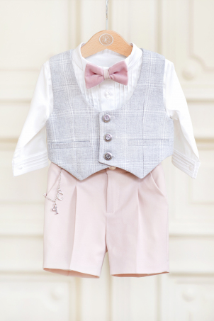 Vintage Chic - summer elegant suit for little boys, with short pants and waistcoat