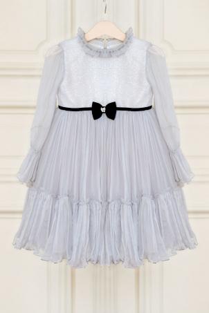Tiana - Delicate silk chiffon dress and velvet details