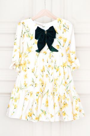 Iris - Light girl dress with cheerful floral print and velvet details