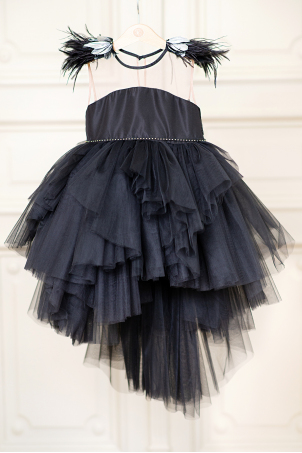 Little Rock - black tutu dress for girls with feathers and metallic details
