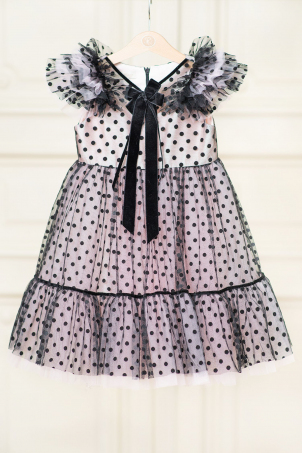 Pinky Black Dots - pink children tutu dress with black polka dots