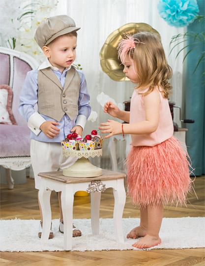 Jordan feather Skirt & Gatsby Boy Suit