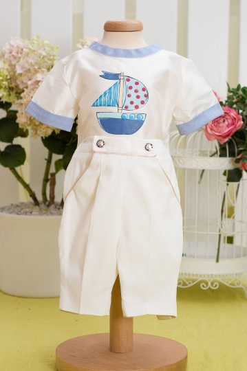 """Aquarela"" - christening boy suit ""Baby Boat"""