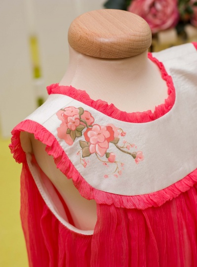 """Aquarela"" - christening girl dress ""Corail Aquarela"""