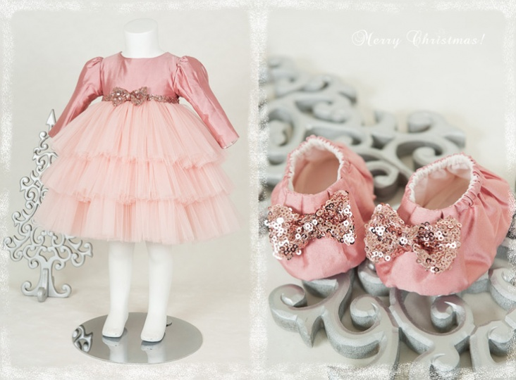 "Christmas Stories - ""Candy"" girl dress and bootees"