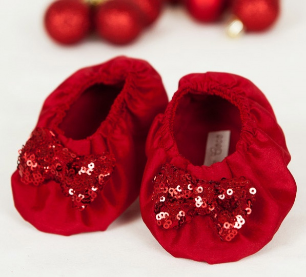 "Christmas Stories - ""Candy"" Baby Booties for girls"