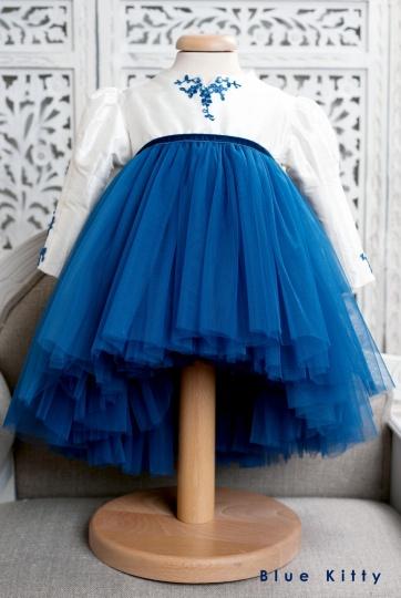 """Les Aristokats - girl christening dress """"Blue Kitty"""""""