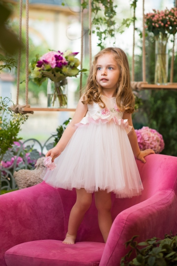 Damask Rose - Rose Hand Painted Girl Dress