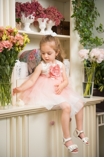 Rose - Party dress for girls, handmade rose