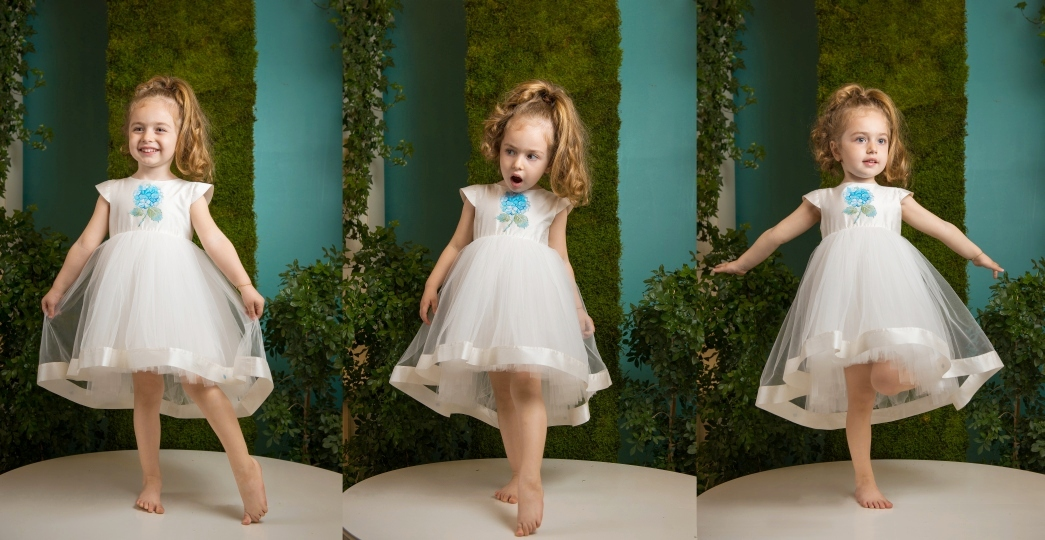 Blue Hortensia - Baby girl train dress