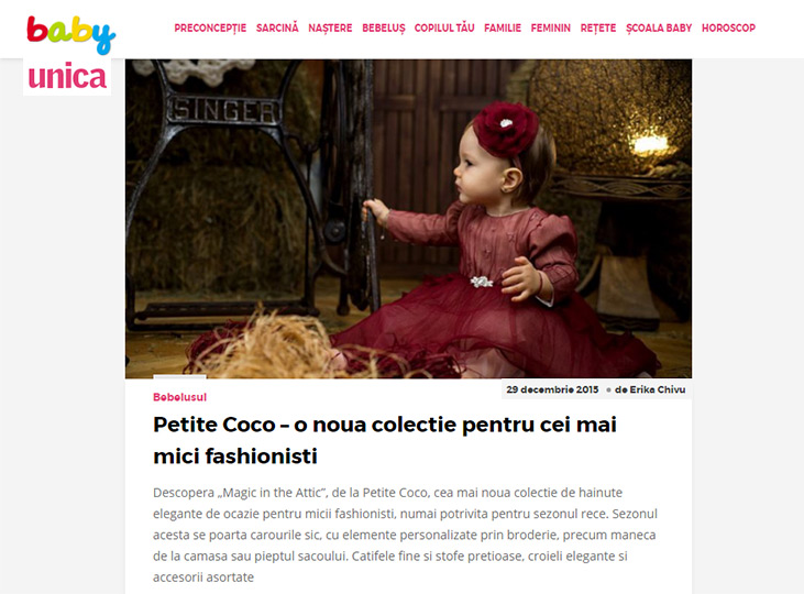 Petite Coco featured on Baby Unica online magazine