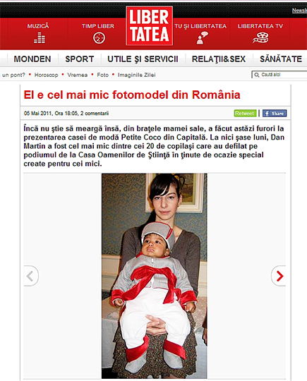Libertatea newspaper - about the smallest Petite Coco model